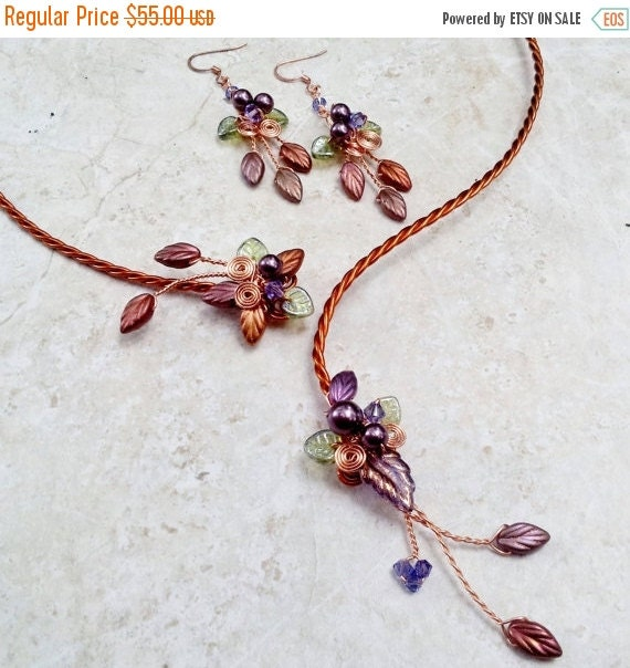 ON SALE Art Nouveau Torc Necklace Earring Set Autumn Cornucopia