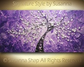 ORIGINAL Large Abstract Contemporary Silver Purple Tree Painting Textured Palette Knife Impasto Landscape Cherry Blossom by Susanna 48x24