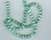 6mm Seafoam Green Cats Eye Fiber Optic Catseye Glass Round Beads