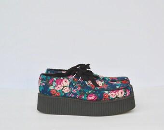 GRUNGE floral print PLATFORM shoes / size 9