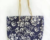 XL travel tote in navy blue tropical hawaiian print, large reversible vacation beach bag, coastal casual shoulder bag, reclaimed aloha shirt