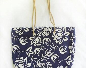 XL travel tote in navy blue tropical hawaiian print, large reversible vacation beach bag, coastal casual shoulder bag, reclaimed aloha shirt