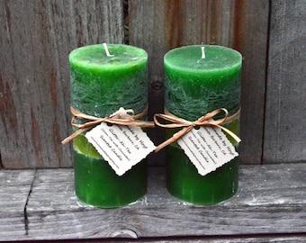 SALE: Pair of Glitter-ah-tea (Green Tea) Medium Pillar Candles