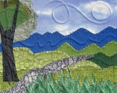 Hike Landscape - Handmade Small Quilt - Quilted Postcard - Greeting Card - Landscape Art - Mountain Landscape - Nature Postcard - Mom Gift