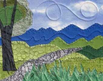 Handmade Fabric Postcard, Quilted Postcard, Textile Art, Greeting Card, Landscape Art, Mountain Landscape, Nature Postcard, Mountain,