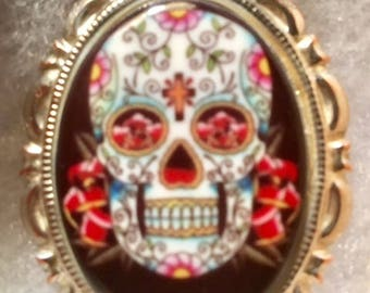 Sugar Skull CAMEO pin necklace set in Silver tone 30x40MM unusual cameo multi color ceramic cameo day of the dead