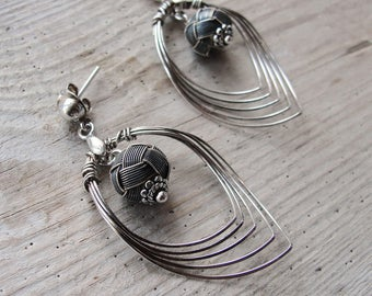 Sterling Silver Drop Earrings Hand knotted Kazaziye woven Fine Silver Oxidized and Mat