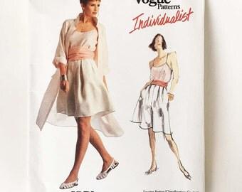 Vintage Adri Sewing Pattern 1980s Vogue Individualist 2036 Coat Top Shorts Culottes Cummerbund 32.5 Bust Size 10