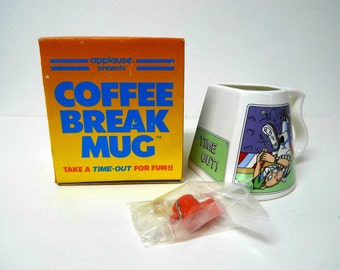 TIME-OUT! Coffee Break Mug  . 80s 90s referree coffee mug by Applause . in original box