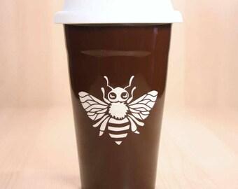 Honey Bee Travel Mug - insulated lidded coffee cup