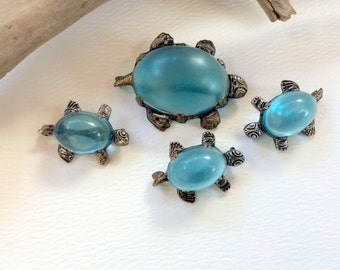 Silvertone Blue Lucite Mother Turtle and Babies Brooch Pin Lot