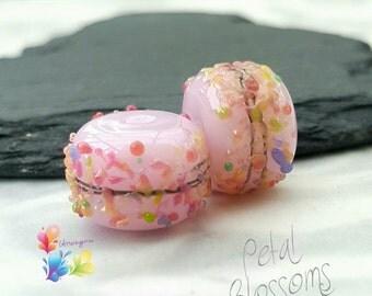 Lampwork Beads Petal Pink Blossom Beads, valentine,