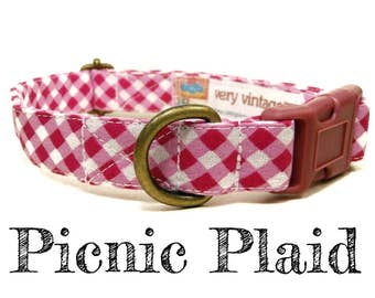 "Dark Pink Gingham Pretty Girl Preppy Plaid Dog Collar - Organic Cotton Dog Collar - Antique Metal Hardware - ""Picnic Plaid"""