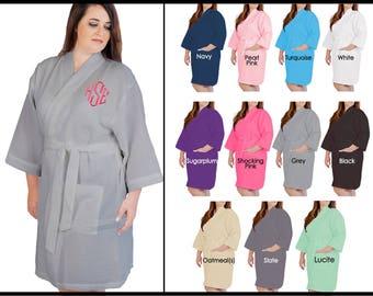 PLUS Robe Size XXL Monogrammed Robe - Personalized Large Womens Robes, Wedding Plus Robe, Waffle Weave Robes, Monogram Bridesmaid Plus Robe