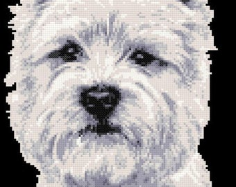 Westie face - West highland terrier counted cross stitch kit