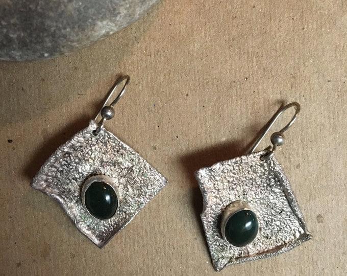Sterling Silver Earrings * Agate Stone * Agate Earrings * Square Earrings