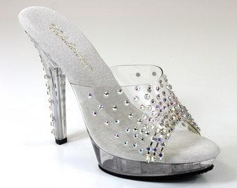 Crystal AB Rhinestone Shoes / Bikini figure Competition Shoes