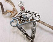 RESERVED FOR SS - La Sirene Veve with Ruby - Solid Cast Silver Voodoo Veve Lwa Vodou Charm Pendant in Sterling Silver