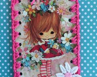 Vintage Playing Card Book Mark / Ornament / Tag -  Crochet Mod Flower Girl in Pink All Around