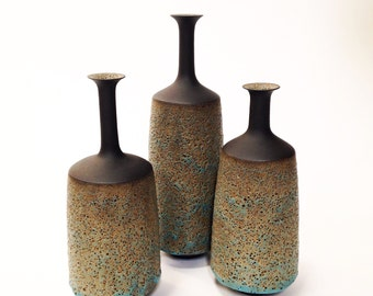 Made To Order-  set of 3 large stoneware modern textural glaze architectural pottery vases sarapaloma black clay blue glaze volcanic lava