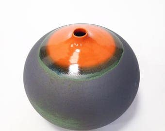 Ships Now- one large stoneware droplet vase glazed in matte slate and bright orange gloss by sara paloma