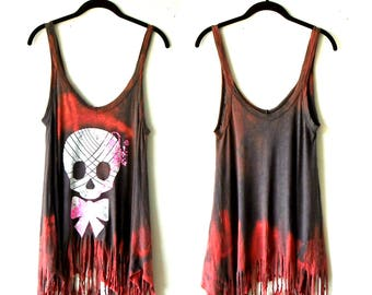 XS-S ~ Distressed & Fringed Sugar Skull Tank Top / Tunic ~ street wear gypsy clothing handmade upcycled boho chic hippie wearable art