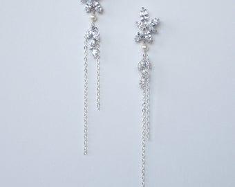 Cubic Zirconia Dangle Earrings Wedding Earrings Art Deco Tassel Leaf Drop Earrings Best Gift For Her
