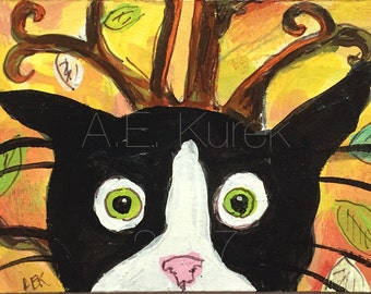 Cat Art - Cat ACEO - Tuxedo Cat Art - Original ACEO Painting - Silent Mylo and the Storm Tree 2 - Funny Cat Art - Gift for Cat Lover
