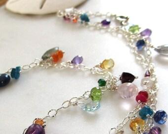 Boho Gemstone Necklace, Colorful Gemstone Necklace, Birthstone Necklace, Rainbow Wire Wrapped Necklace, Sterling Birthstone Jewelry, Roxanne