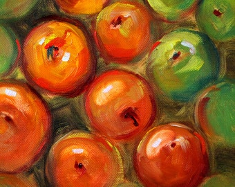 Apple Still Life, Oil Painting, Original Red, Green Fruit, Square Kitchen Wall Decor, Small 8x8 Canvas, Fresh Fruit, Square Format