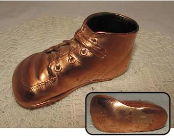 Vintage Bronzed Baby Toddler Shoe, Copper, Infant Keepsake 1967, home décor, collectible