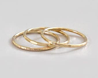Gold Stacking Ring, Hammered Gold Ring, Gold Band, Stacking Ring Set, Gold Hammered Ring, 16 Gauge, Gold Thumb Ring, Knuckle Ring, Audrey