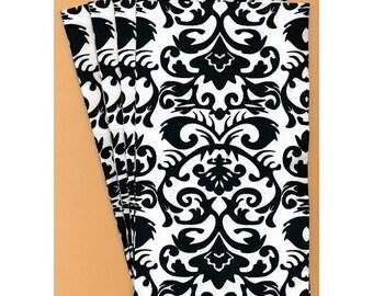 PN118 Paper Napkins by Michel Design Works ~ 4.5 x 8 ~ Elegant Black & White Damask ~ Set of 4