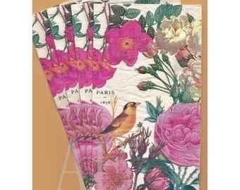 PN076 Paper Napkins by Michel Design Works ~ 4.5 x 8 ~ Rose Garden Birds Buds ~ Set of 4