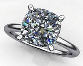 Private listing for Kristina - promise ring - 1.7 carat cushion NEO moissanite engagement ring, with bands