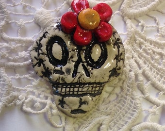 Skeleton Pin with Flower