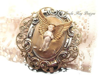 Shabby Frozen Charlotte Angel Doll Brooch Romantic Gold Angel Jewelry Pin