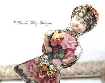 Crimson Roses Doll Brooch Ornament Broken China Art Doll Flowers Mixed Media Soldered Assemblage Art Girl Broach