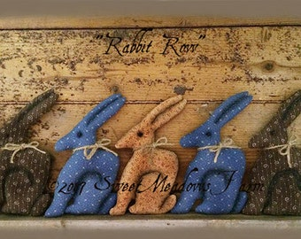 Row of Rabbits Ornies or Tucks Bunny doll pattern