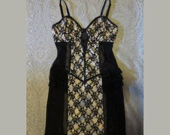 SALE Black Lace Corset Slip Girdle Dress XS Small Pin-Up Gothic