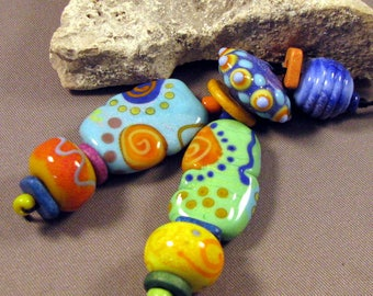 Handmade lampwork beads by Mona Sullivan - Happy Set - Handmade Lampwork Beads by Monaslampwork Boho Organic Tribal Bohemian Summer Color