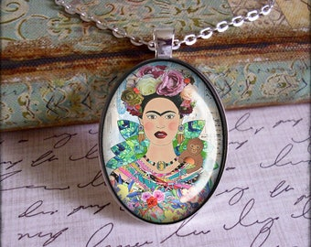 Frida Kahlo, altered art pendants, illustration jewelry, only 5 pendants made of each design, Frida Kahlo jewelry, black or silver settings