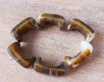Vintage Czech  1920s  Faux Agate Interlocking (or not) Molded Glass Beads - 16mmx8mm - Lot of 6
