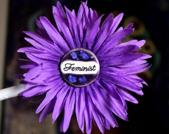 Feminist Flower Hair Clip in Purple