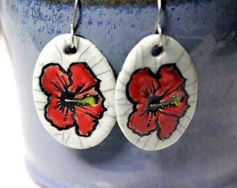 Hibiscus Flower Ceramic Earrings