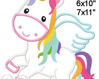 Unicorn with Wings Machine Applique Embroidery Pattern 4x4 5x7 6x10 7x11 INSTANT DOWNLOAD