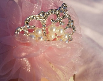 Beautiful Pink Hair Piece with a Rhinestone Crown