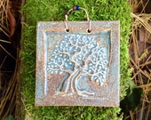 Tree of Life Tile in Antique Blue Glaze