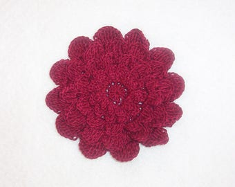 Crocheted Burgundy REd 5-layer Mum Flower Applique Large