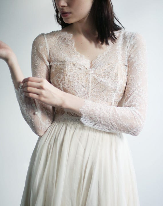 Sample Sale -3/4 sleeve delicate French Lace wedding top separate--